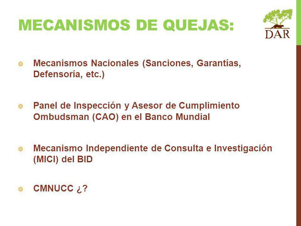 MECANISMOS DE QUEJAS: Mecanismos Nacionales (Sanciones, Garantías, Defensoría, etc.)