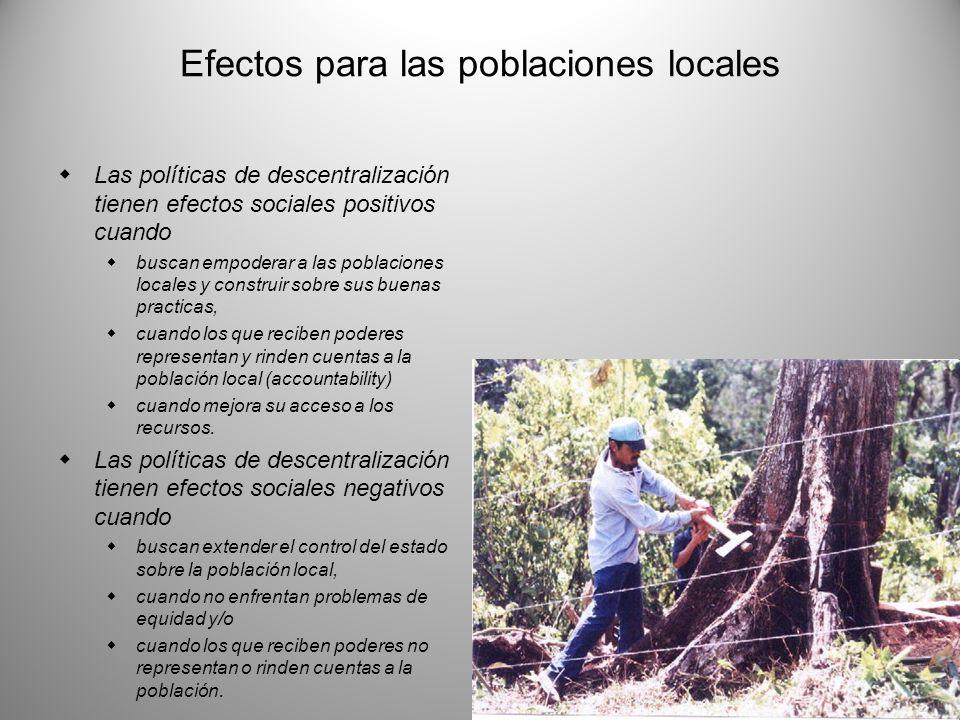 Efectos para las poblaciones locales