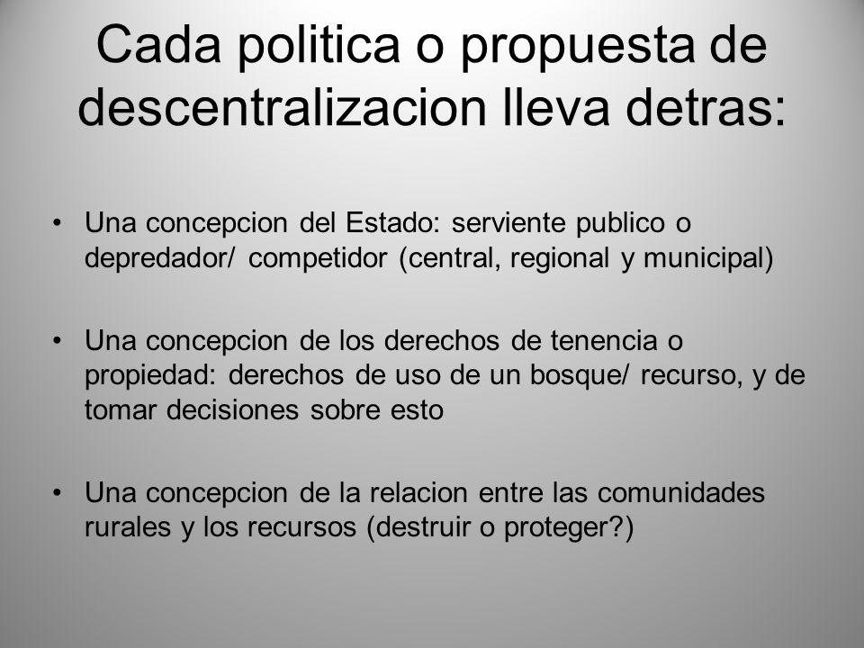 Cada politica o propuesta de descentralizacion lleva detras: