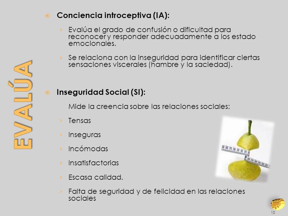 Evalúa Conciencia introceptiva (IA): Inseguridad Social (SI):
