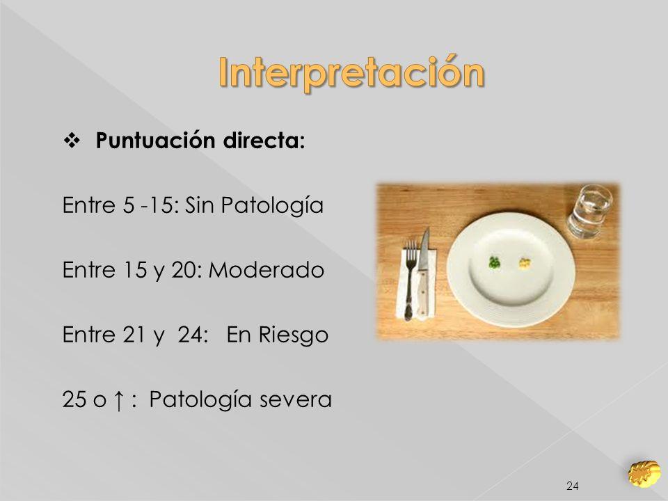 Interpretación Puntuación directa: Entre 5 -15: Sin Patología