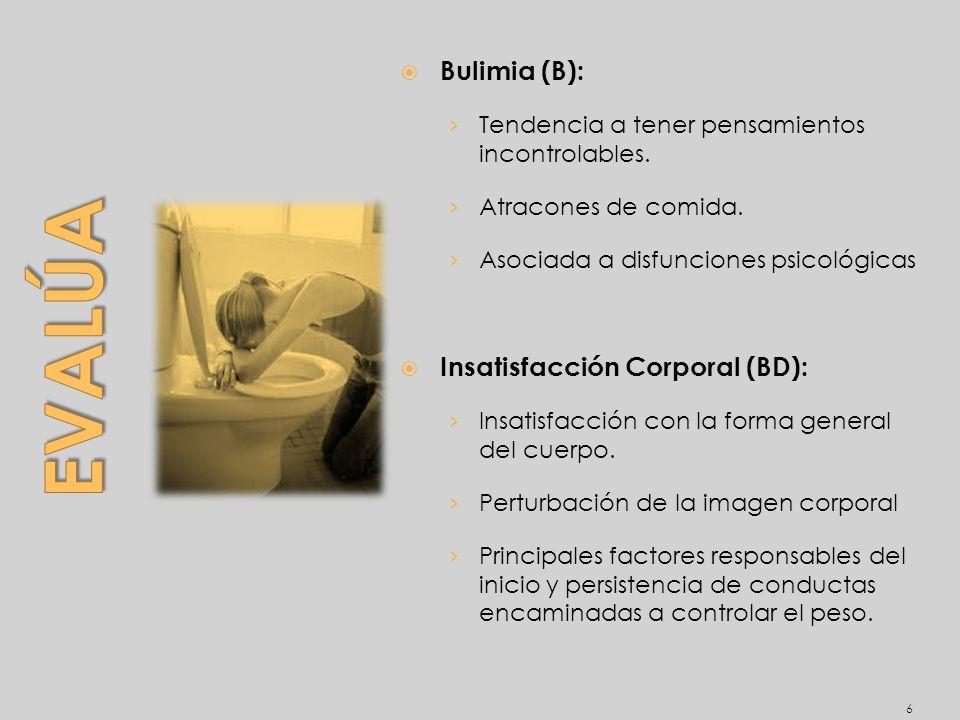 Evalúa Bulimia (B): Insatisfacción Corporal (BD):