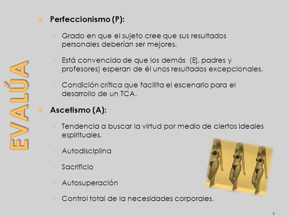 Evalúa Perfeccionismo (P): Ascetismo (A):