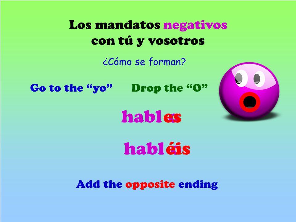 habl es o habl éis o Los mandatos negativos con tú y vosotros