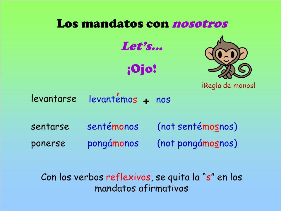 , + Los mandatos con nosotros Let's… ¡Ojo!