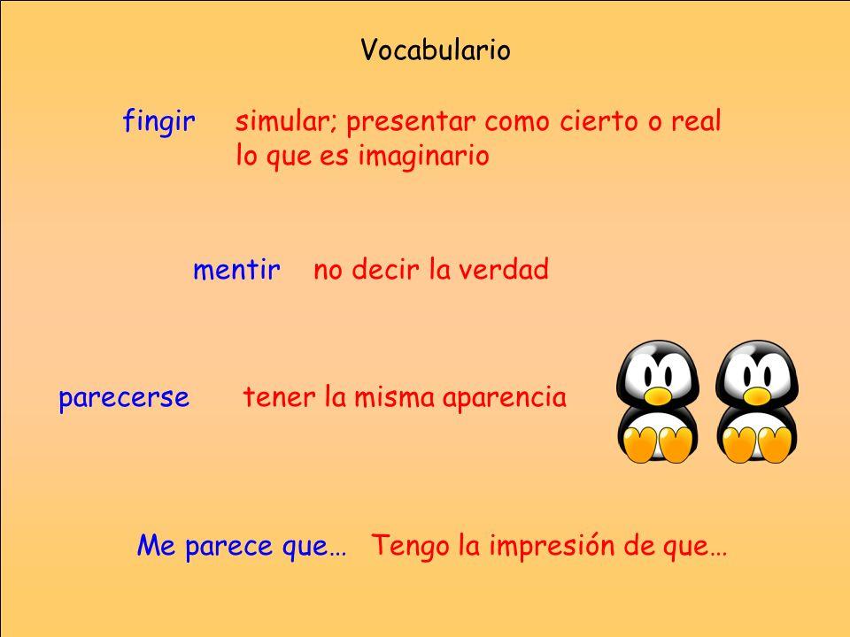 Vocabulariofingir. simular; presentar como cierto o real lo que es imaginario. mentir. no decir la verdad.