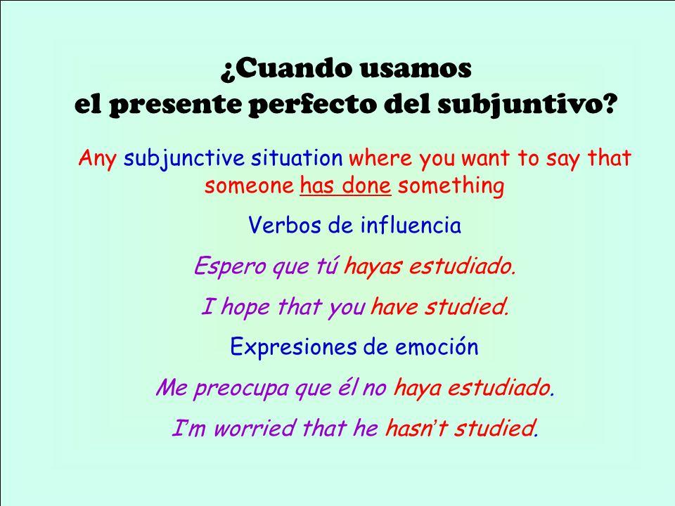 ¿Cuando usamos el presente perfecto del subjuntivo