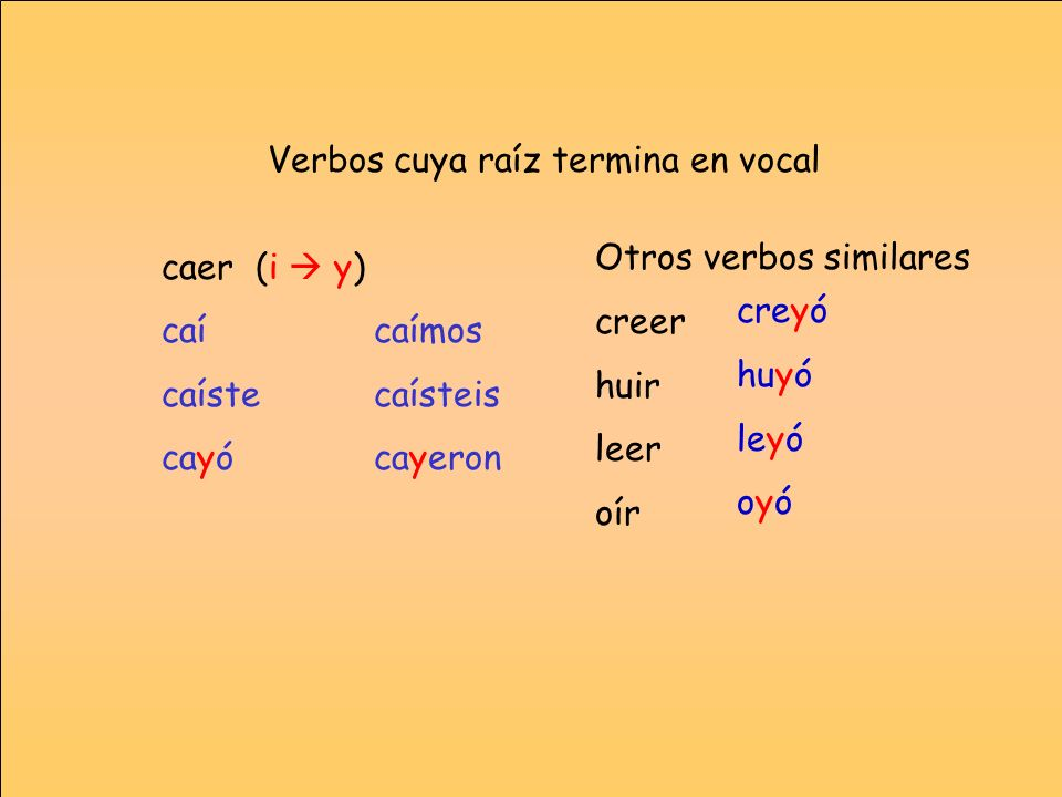 Verbos cuya raíz termina en vocal