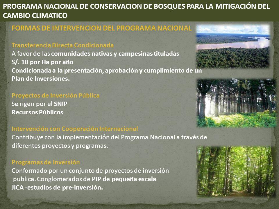 FORMAS DE INTERVENCION DEL PROGRAMA NACIONAL