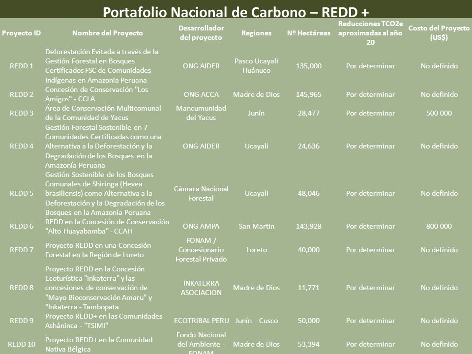 Portafolio Nacional de Carbono – REDD +
