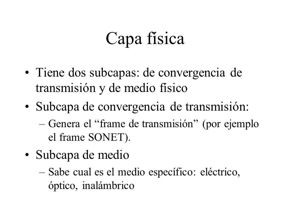 Capa física Tiene dos subcapas: de convergencia de transmisión y de medio físico. Subcapa de convergencia de transmisión: