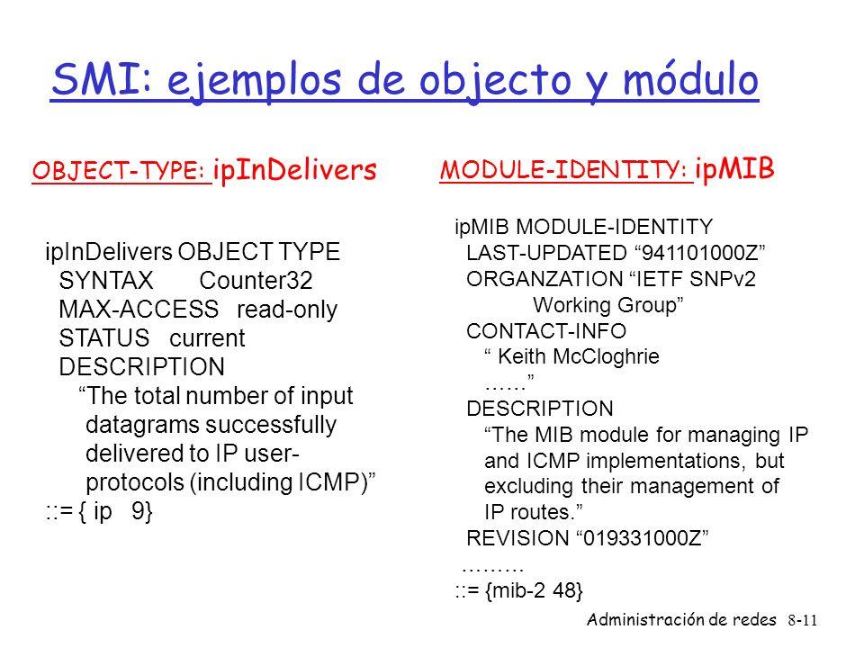 SMI: ejemplos de objecto y módulo