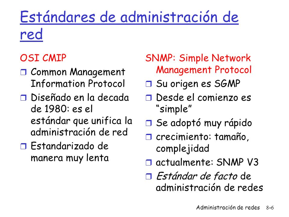 Estándares de administración de red