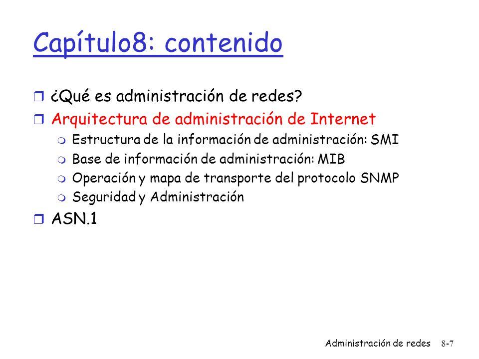 Capítulo8: contenido ¿Qué es administración de redes