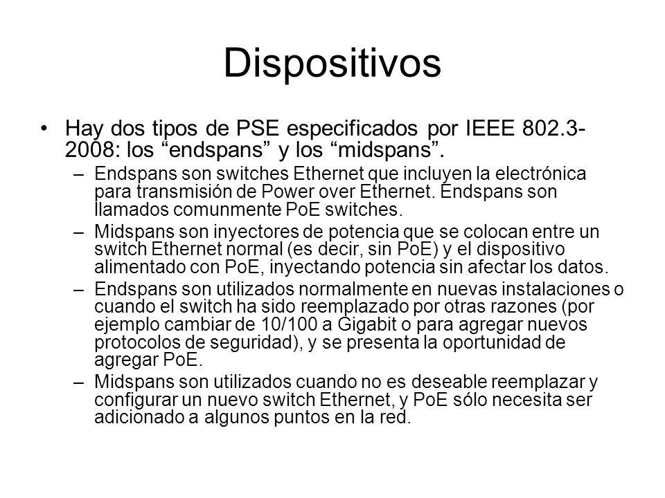 Dispositivos Hay dos tipos de PSE especificados por IEEE 802.3-2008: los endspans y los midspans .