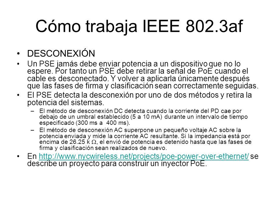 Cómo trabaja IEEE 802.3af DESCONEXIÓN