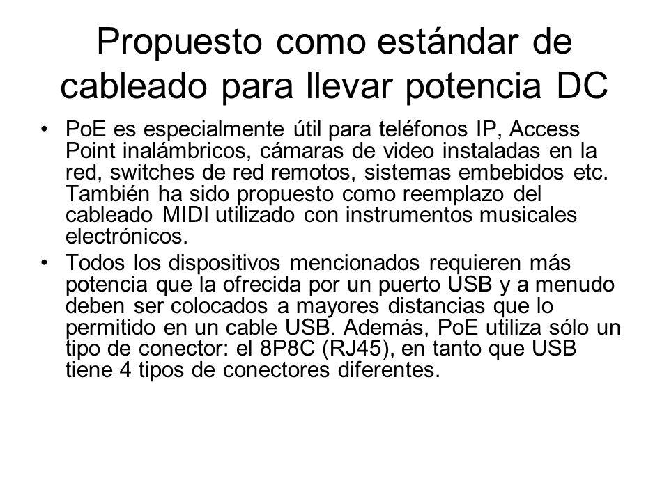 Propuesto como estándar de cableado para llevar potencia DC