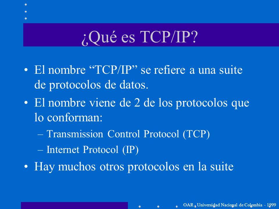 ¿Qué es TCP/IP El nombre TCP/IP se refiere a una suite de protocolos de datos. El nombre viene de 2 de los protocolos que lo conforman: