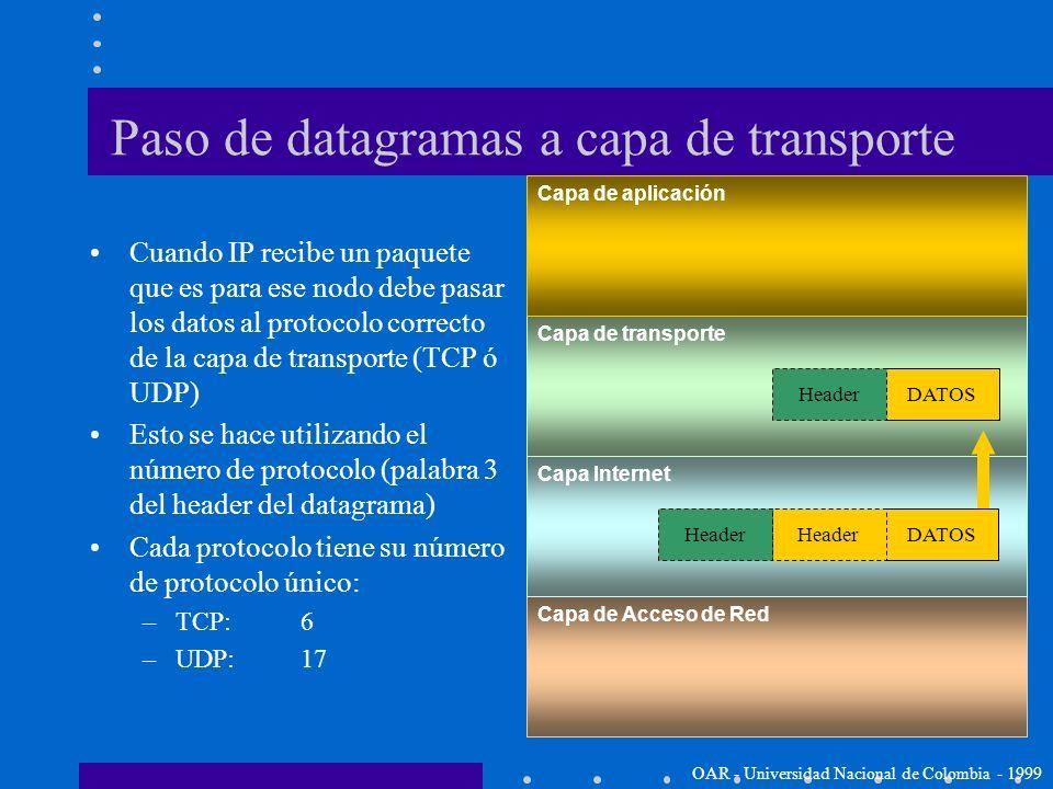 Paso de datagramas a capa de transporte