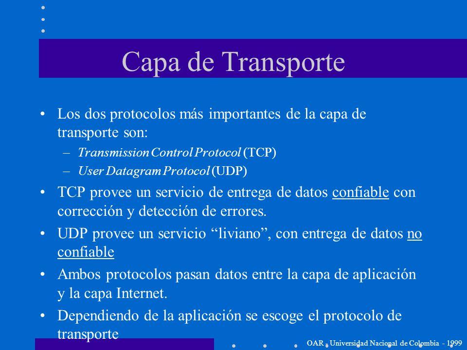 Capa de Transporte Los dos protocolos más importantes de la capa de transporte son: Transmission Control Protocol (TCP)