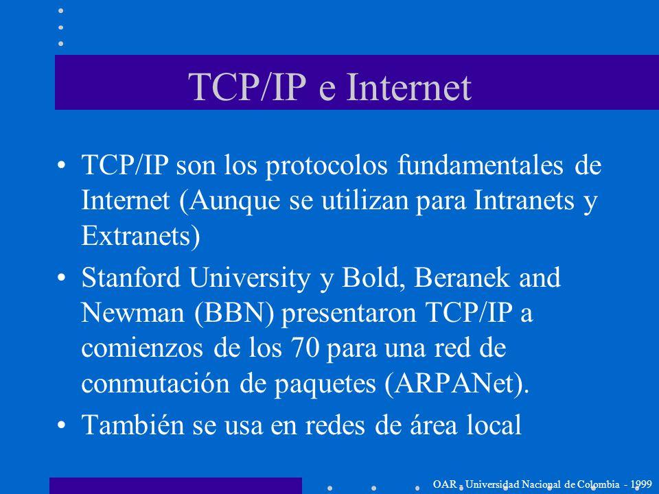 TCP/IP e Internet TCP/IP son los protocolos fundamentales de Internet (Aunque se utilizan para Intranets y Extranets)
