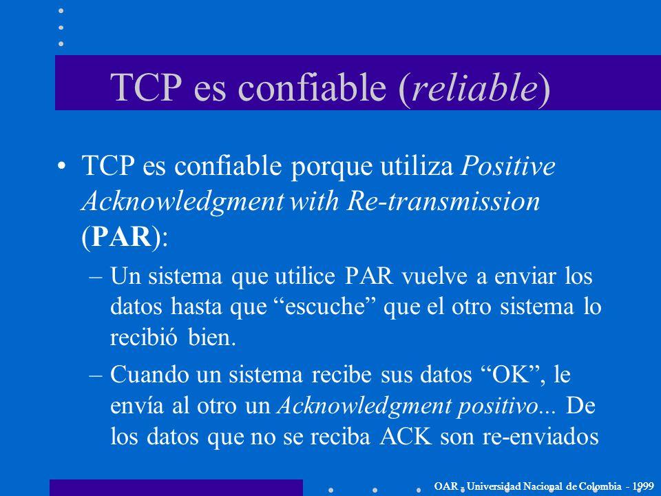 TCP es confiable (reliable)