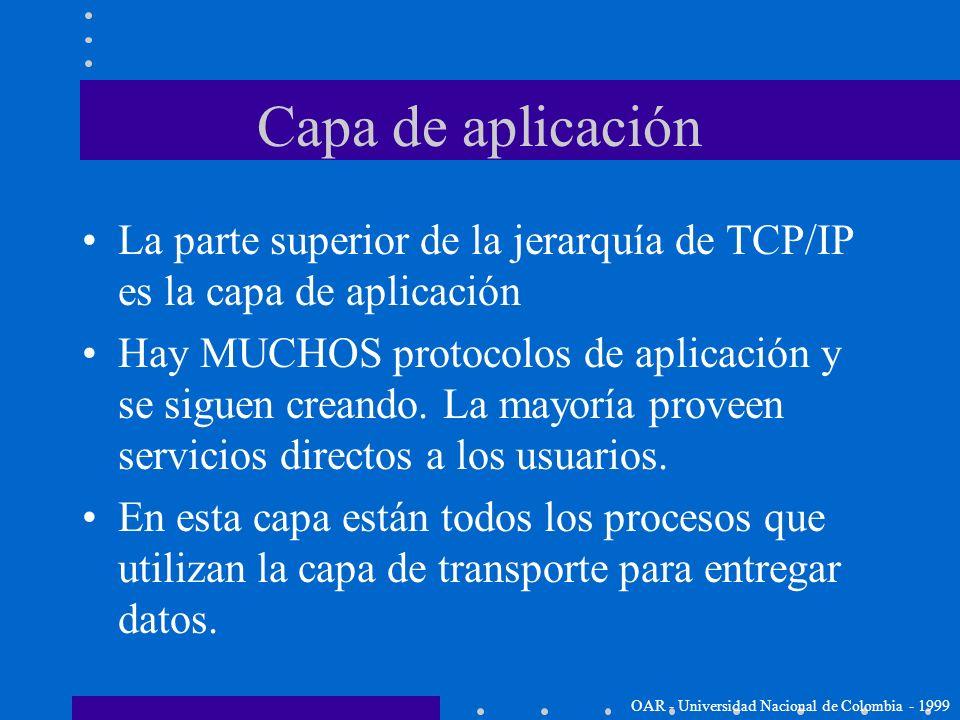 Capa de aplicación La parte superior de la jerarquía de TCP/IP es la capa de aplicación.