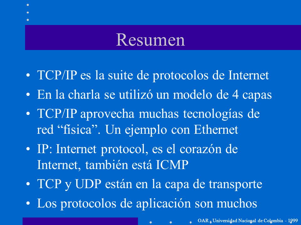 Resumen TCP/IP es la suite de protocolos de Internet