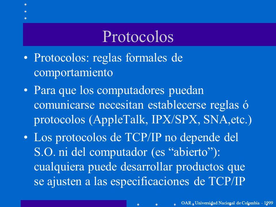 Protocolos Protocolos: reglas formales de comportamiento