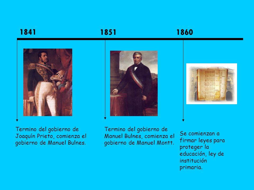 18411851. 1860. Termino del gobierno de Joaquín Prieto, comienza el gobierno de Manuel Bulnes.