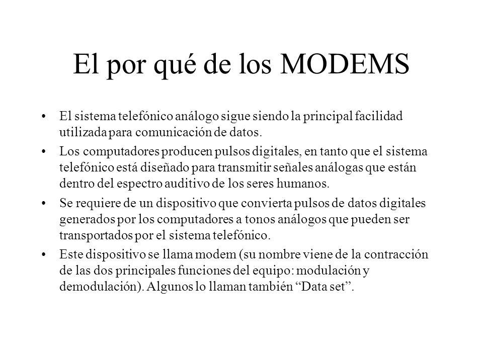 El por qué de los MODEMS El sistema telefónico análogo sigue siendo la principal facilidad utilizada para comunicación de datos.