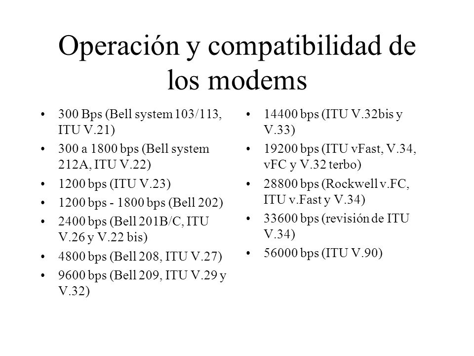 Operación y compatibilidad de los modems