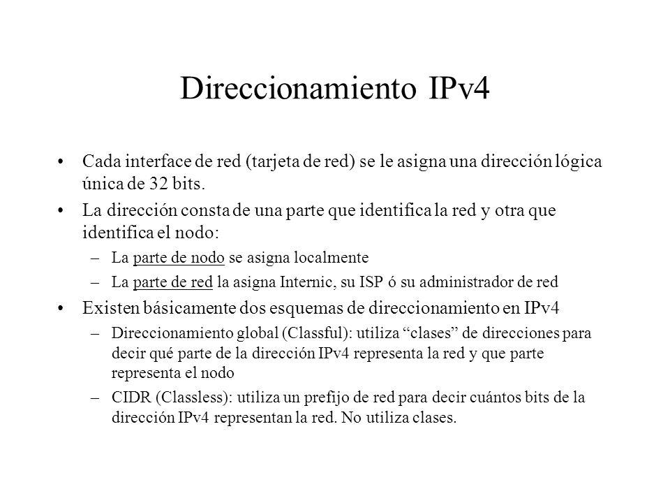 Direccionamiento IPv4 Cada interface de red (tarjeta de red) se le asigna una dirección lógica única de 32 bits.