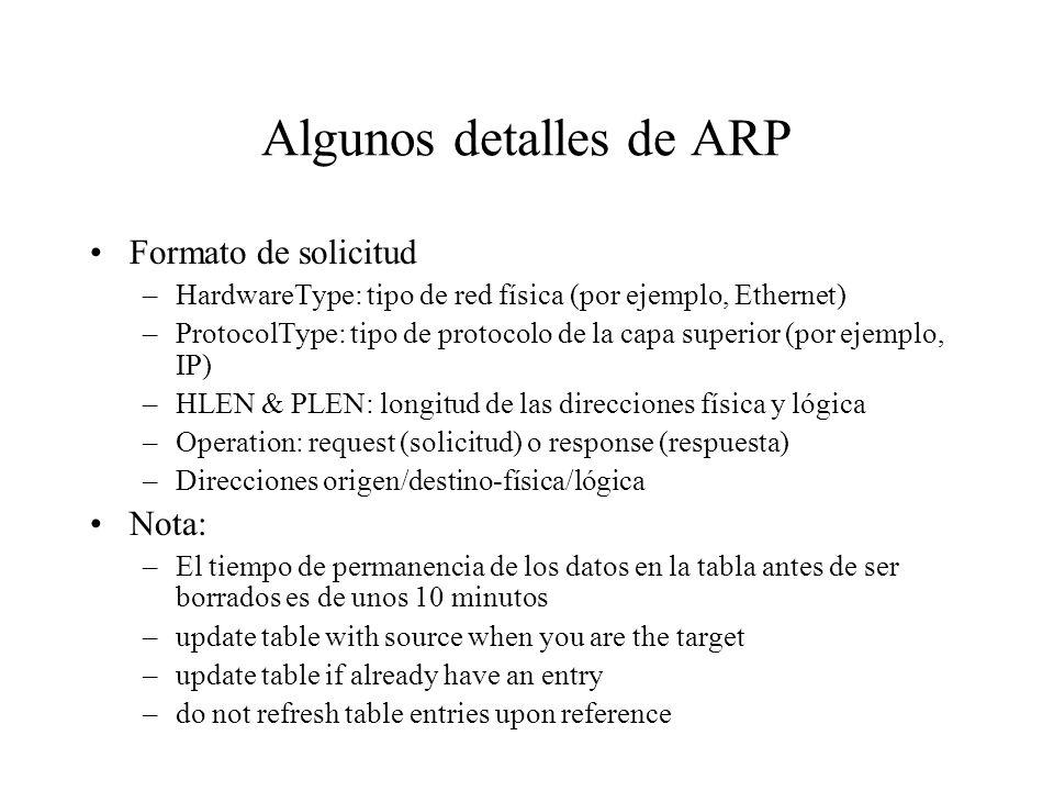 Algunos detalles de ARP