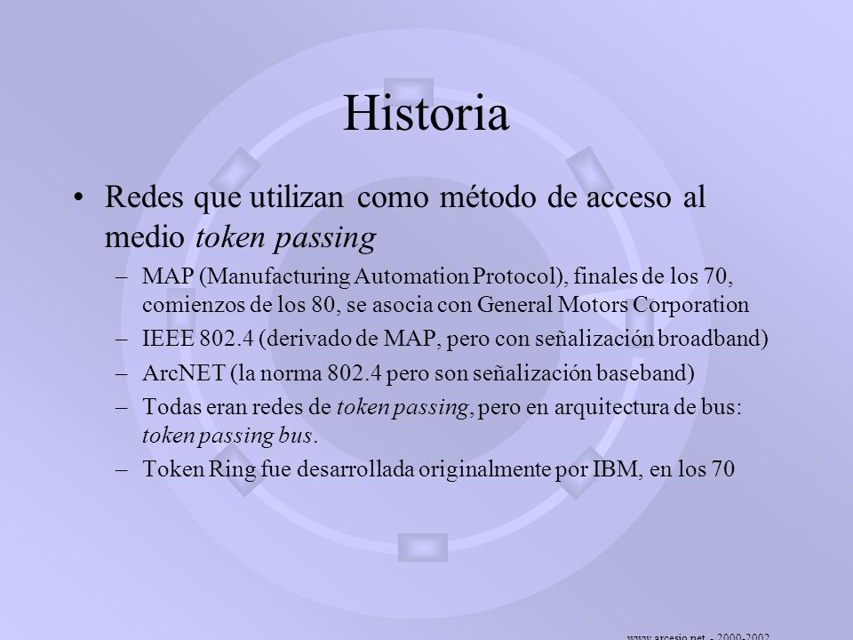 Historia Redes que utilizan como método de acceso al medio token passing.