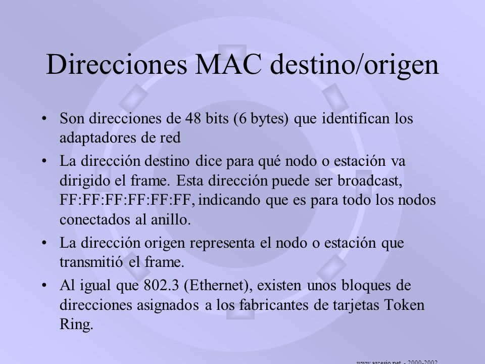 Direcciones MAC destino/origen