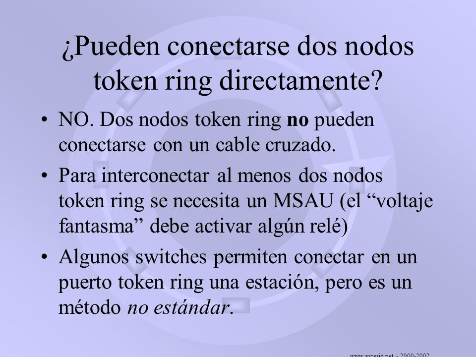 ¿Pueden conectarse dos nodos token ring directamente