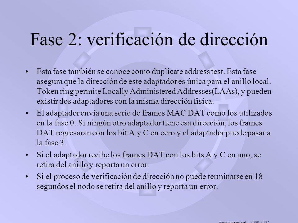 Fase 2: verificación de dirección