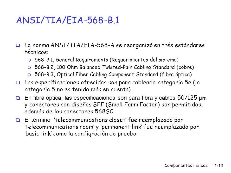 ANSI/TIA/EIA-568-B.1 La norma ANSI/TIA/EIA-568-A se reorganizó en trés estándares técnicos: