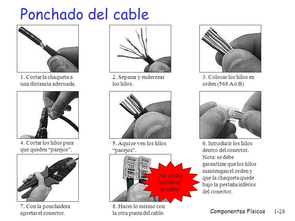 ¡No olvide certificar el cable!