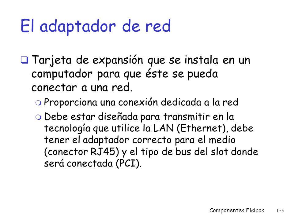 El adaptador de red Tarjeta de expansión que se instala en un computador para que éste se pueda conectar a una red.