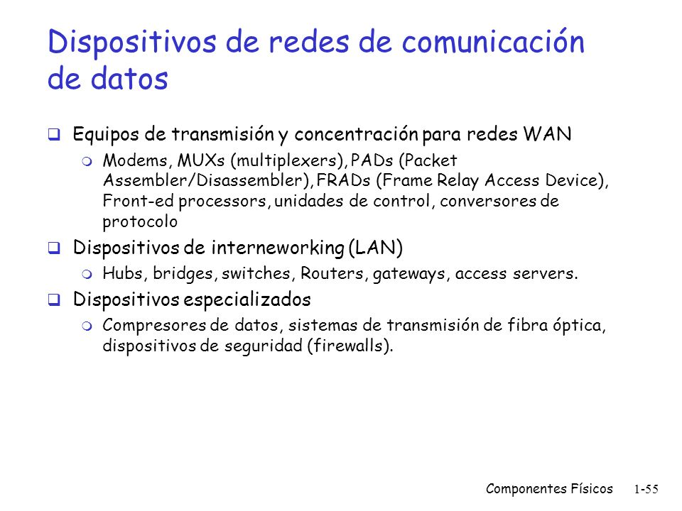 Dispositivos de redes de comunicación de datos