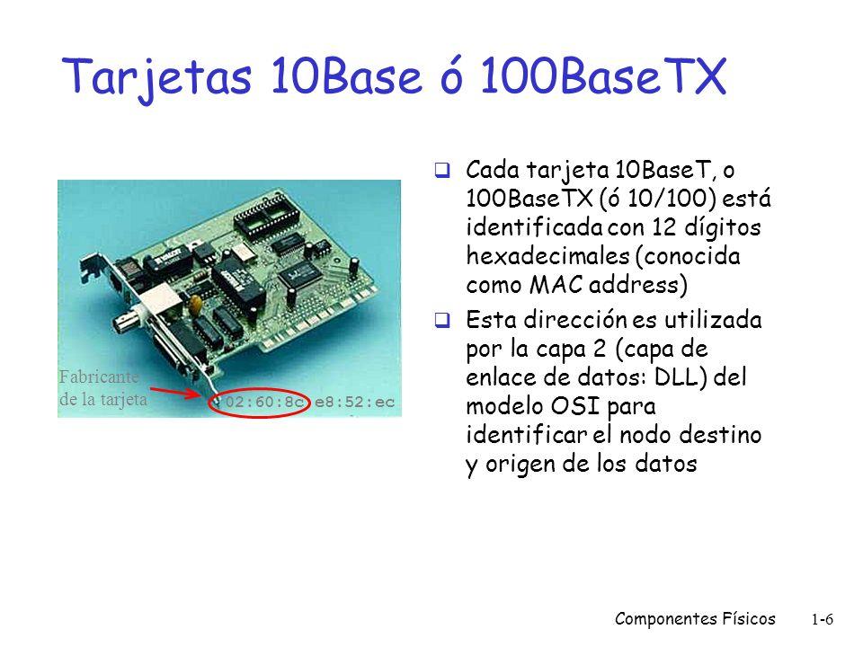Tarjetas 10Base ó 100BaseTXCada tarjeta 10BaseT, o 100BaseTX (ó 10/100) está identificada con 12 dígitos hexadecimales (conocida como MAC address)