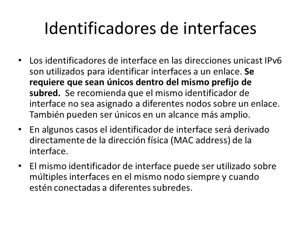 Identificadores de interfaces