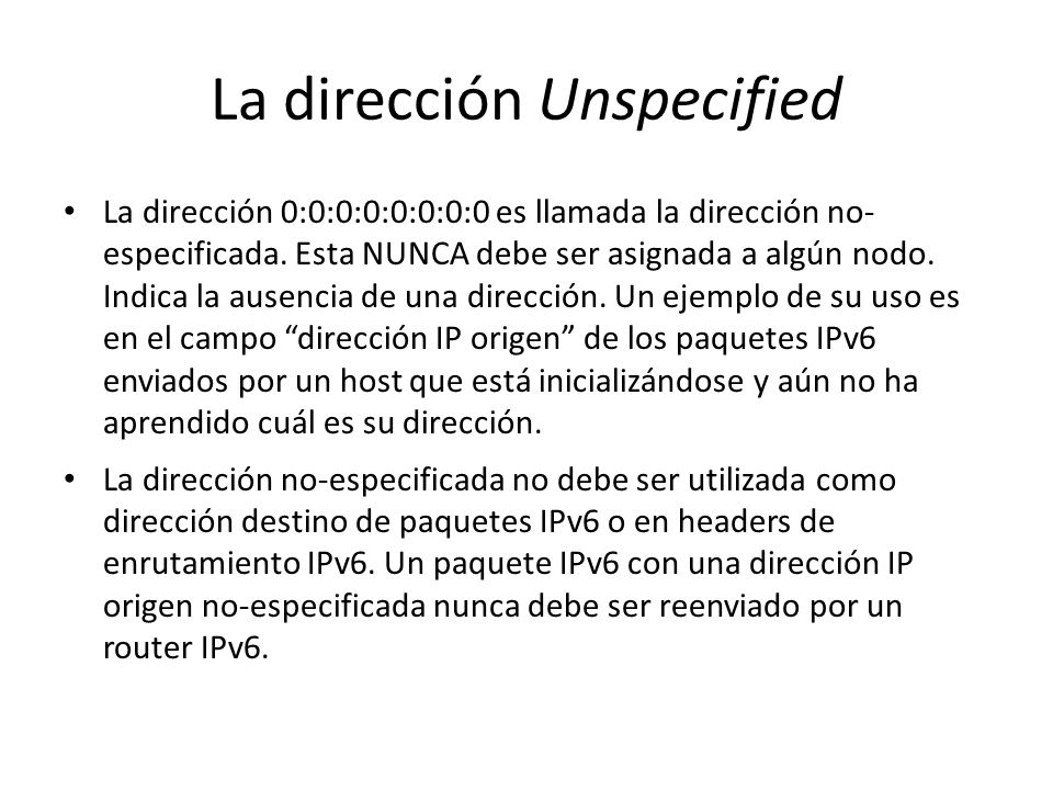 La dirección Unspecified