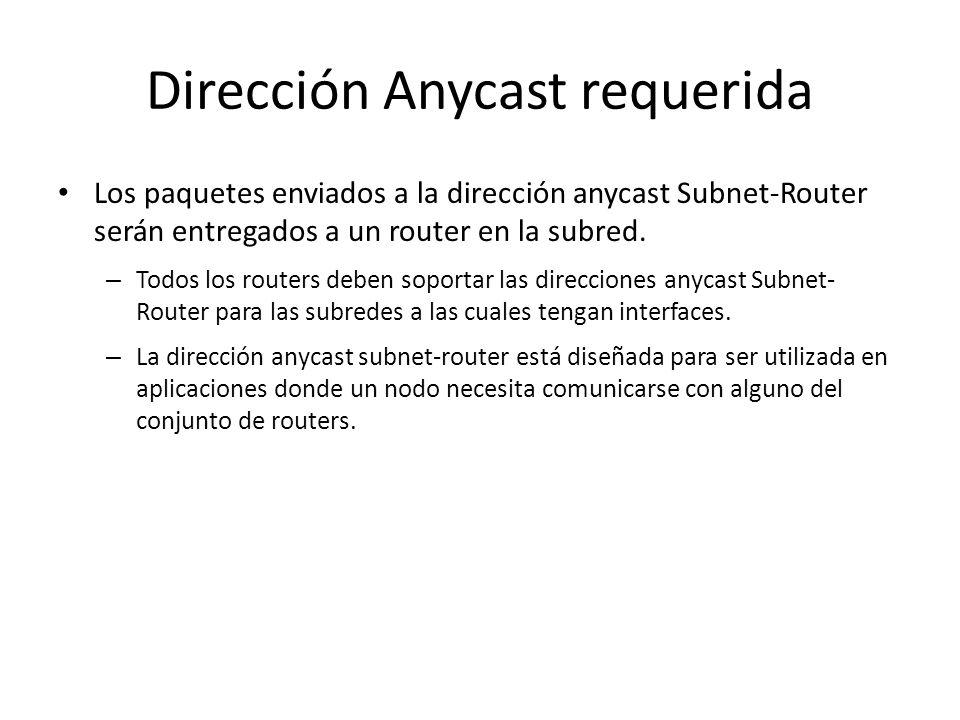 Dirección Anycast requerida