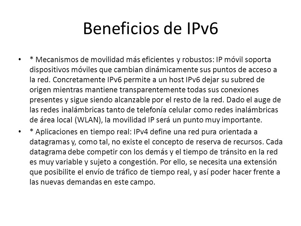 Beneficios de IPv6