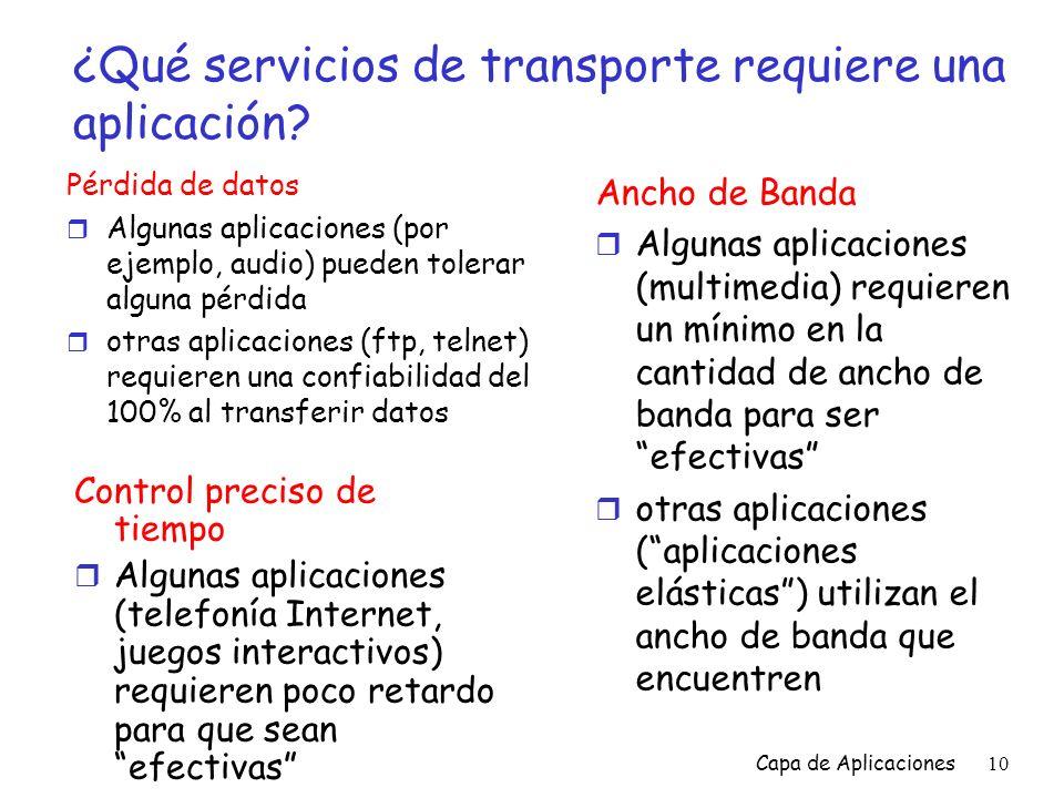 ¿Qué servicios de transporte requiere una aplicación