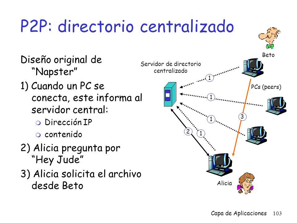 P2P: directorio centralizado