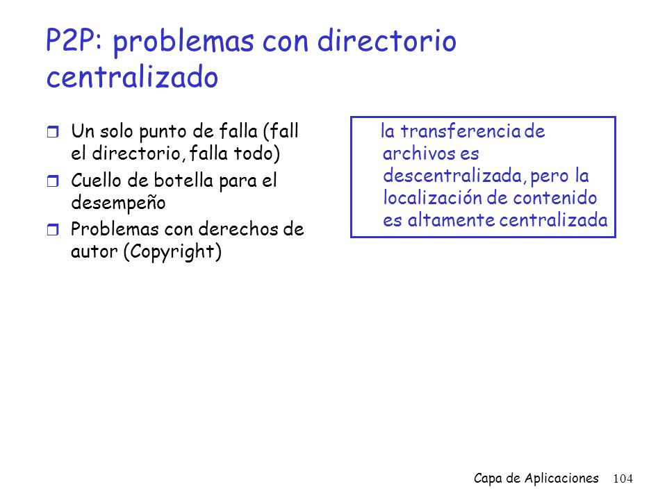 P2P: problemas con directorio centralizado